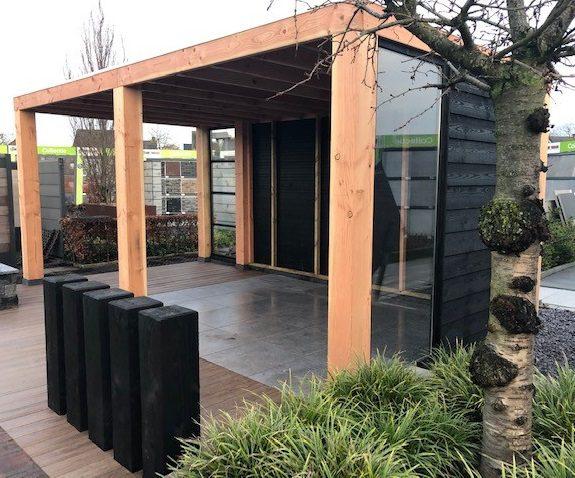 tuinhuis douglas hout veranda overkapping blokhut buitenverblijf terrasoverkapping kapschuur terras trends