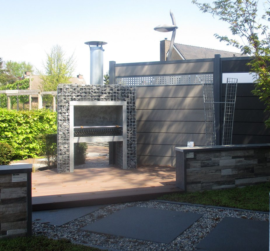 Schanskorf haard composiet schermen Inspiratie sfeertuin Showtuin Tuin Terras Ysselsteyn Limburg Venray Nijmegen Helmond Roermond Sittard Eindhoven