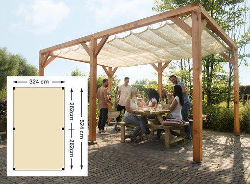 Zonnedoeken harmonicadoek zon trendy lounge schaduw terras houten pergola schaduwdoeken zonwering hout