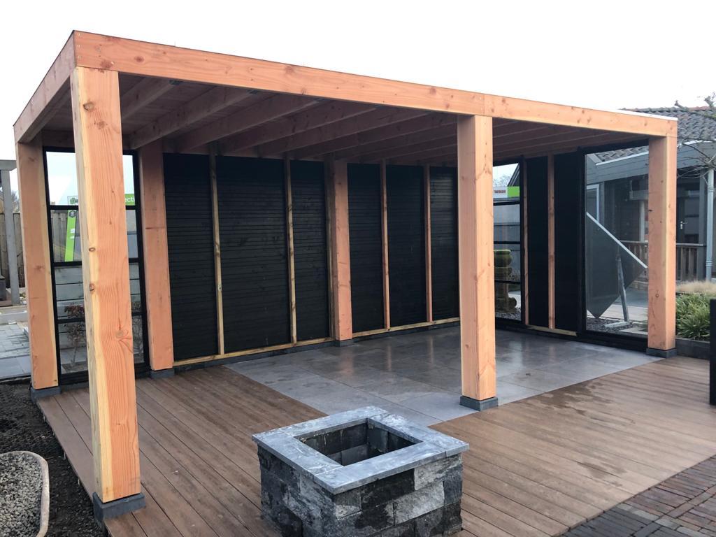 Excellent tuinhuis veranda overkapping blokhut buitenverblijf terrasoverkapping kapschuur terras trends douglas hout