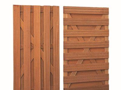 Hardhouten plankendeur recht verticaal 100 x 180 cm.